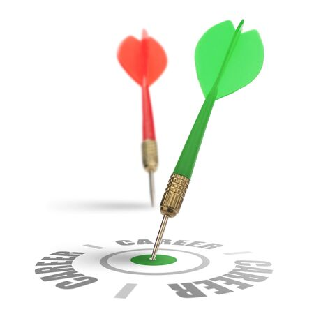 recruiters: two darts on a white background, concept for job recruitment or career, one dart reach its target