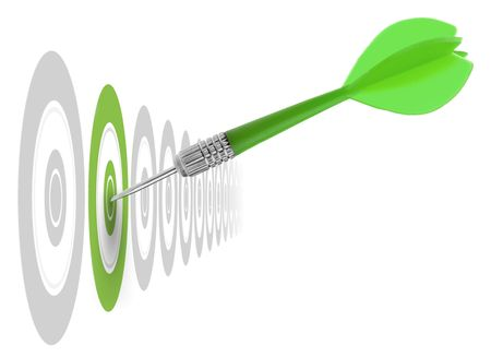 successful dart reaching the green goal, symbol a success or a business challenge, the image is isolated on a white background - illustration Stock Photo