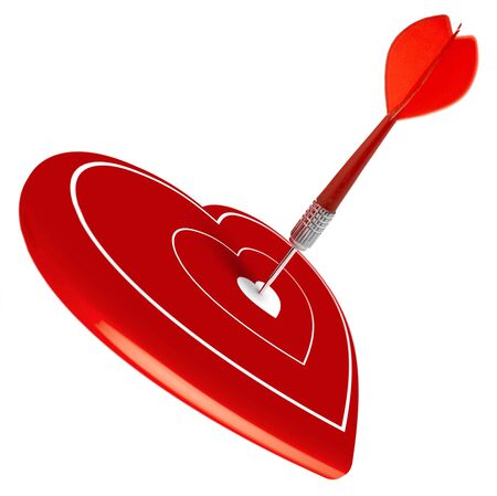 dart hitting the center of a red heart, symbol of valentines day. photo