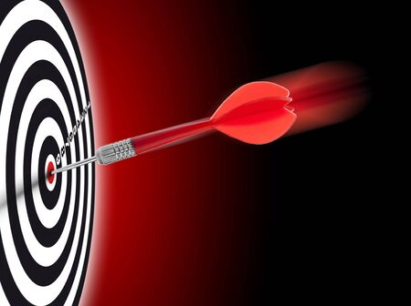 one dart hit it's target on a red background, concept for success Stock Photo - 6544128