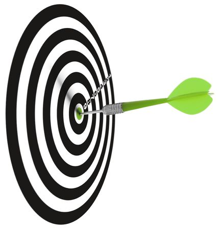 one dar hit it's target on a white background, concept for success Stock Photo - 6544130