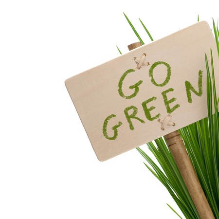 green bamboo: go green message on a wooden panel and green plant - image is isolated on a white background