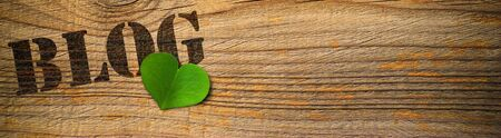 wooden background with the word blog and green heart photo
