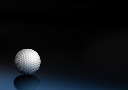 golf ball on a dark blue and black background, the ball is on the bottom left of the picture photo