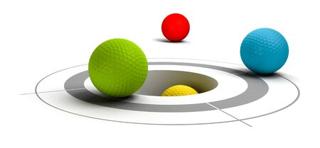 multicolored  golf balls near of a target and a hole Stock Photo - 7281363