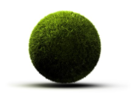 grass onto a sphere symbol of a green planet - 3d illustration