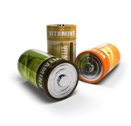 wellbeeing: fruits batteries for energy, battery is isolated on a white background