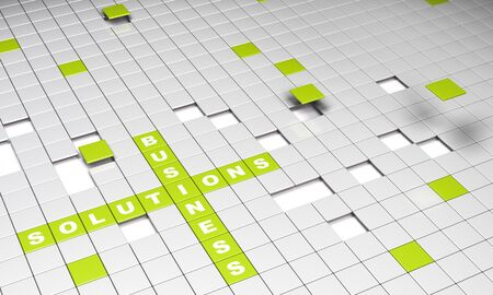 business and solutions words written on a green squared background photo