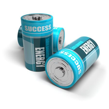 the fruitful: blue batteries energy and success for motivation, battery is isolated on a white background Stock Photo