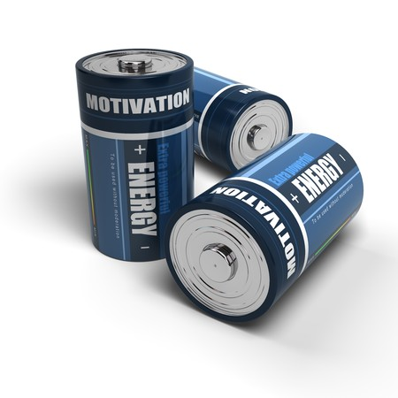 entrepreneurship: blue batteries energy for motivation, battery is isolated on a white background