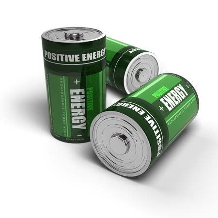 positives: green batteries for positive energy, battery is isolated on a white background Stock Photo