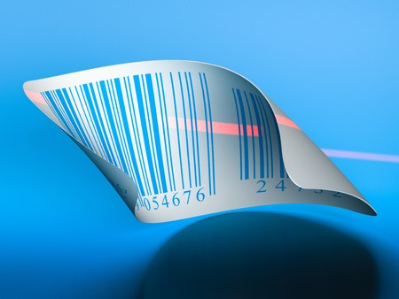 barcodes stickers and laser beam over a dark blue background