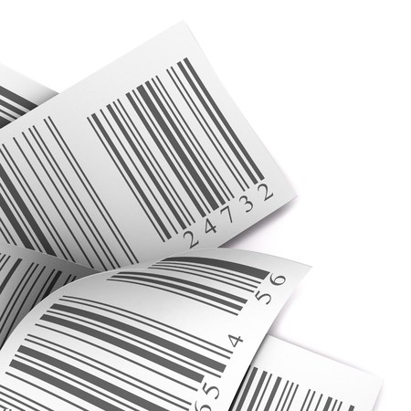 traceability: barcodes stickers with differents colours over a white background Stock Photo