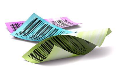 codigos de barra: pegatinas de c�digos de barras con diferentes colores sobre un fondo blanco