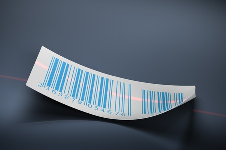 barcodes stickers and laser beam over a dark blue background photo