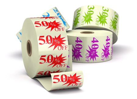 three special offer stickers on a bobbin isolated over a white background Stock Photo - 7837786