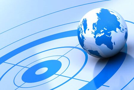 geolocation: earth and target, blue background Stock Photo