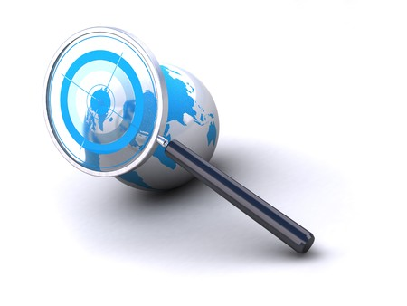 geolocation: earth and magnifying glass with target image is isolated over a white background