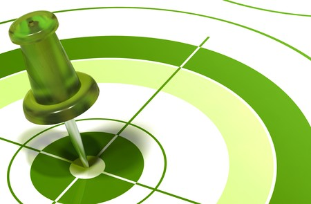 green pushpin on center of a target symbol of reaching objectives Stock Photo - 7837790