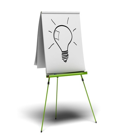 flipchart: green flipchart with a light bulb drawn on it, image is over a white background