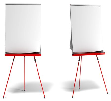 flipchart: red flipchart over a white background, paper is white and empty, one front view and one profile view
