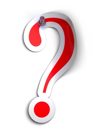 Question mark sticker over a white background with a  pushpin Stock Photo - 7969306
