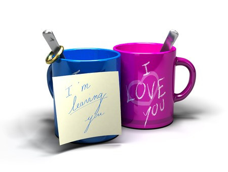 I'm leaving you written on a note fixed on a blue mug where it's written i love you Stock Photo - 7969315