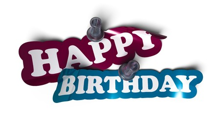 Happy birthday sticker over a white background with a  pushpin Stock Photo - 7969310