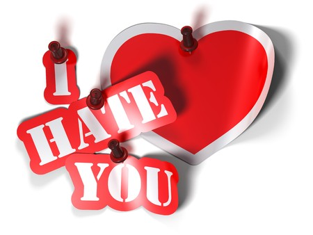 hate: I hate you and heart sticker over a white background with a  pushpin