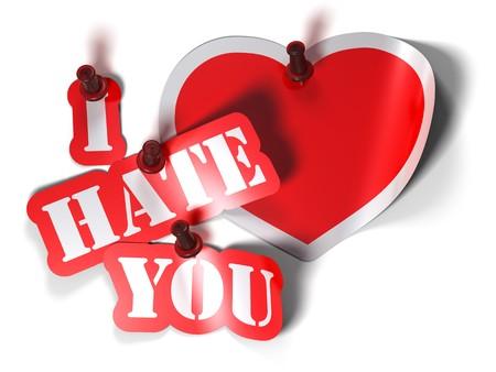 Paradoks: I hate you i serca naklejki na biaÅ'ym tle z Pinezka Zdjęcie Seryjne