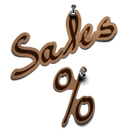 sales word and percent sticker over a white background  photo