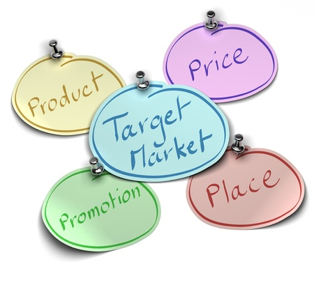 notes where it's written target market, product, price, place and promotion fixed over a white background with pushpin Stock Photo - 8337351