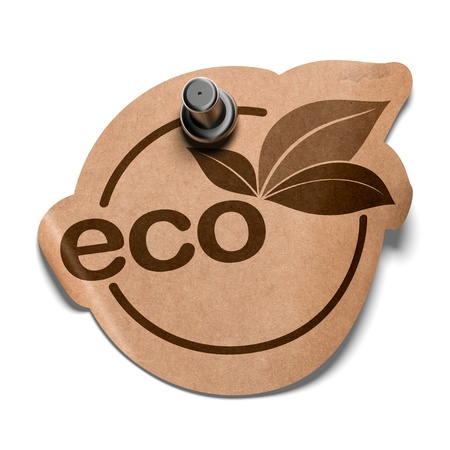eco sticker made in kraft paper fixed on a white wall with a pushpin photo