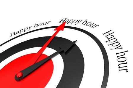 happy hours written around a clock Stock Photo