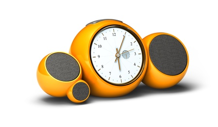 vintage orange alarm clock with sound speakers and antenna over white background photo