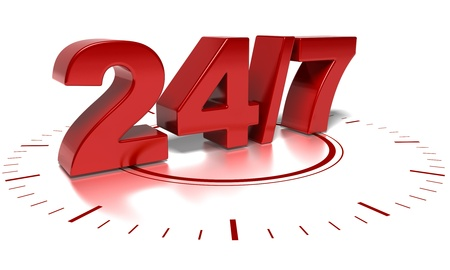 24 and 7 numbers over a white background photo