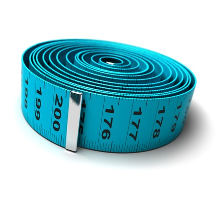 blurr: plastic tape measure in a roll isolated over a white background