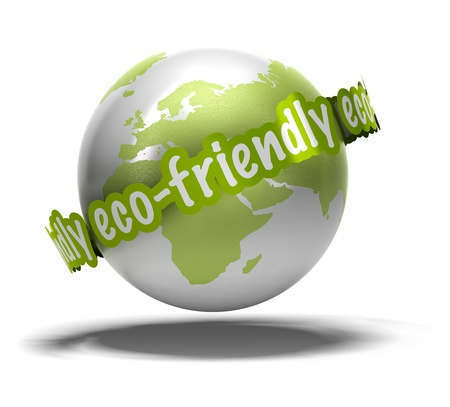 earth friendly: eco friendly writen around the earth, image 3d isolated over a white background