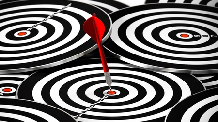 exactness: red dart hitting the center of a dartboard, there is may other targets around it