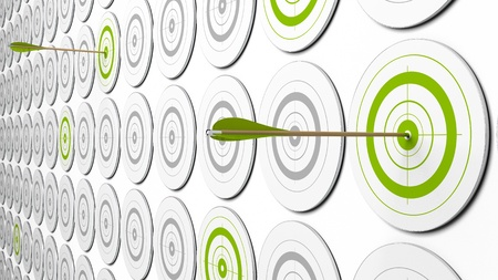 aspirations: two arrows hitting the center of green targets. there is some grey targets around. this is a 3d image with perspective  Stock Photo