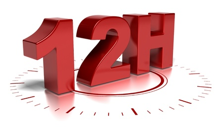 12H written in 3d over a clock symbol - text words are red and the background is white there is blurred reflection photo