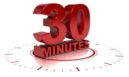 30 minutes written in 3d over a clock symbol - text words are red and the background is white there is blurred reflection