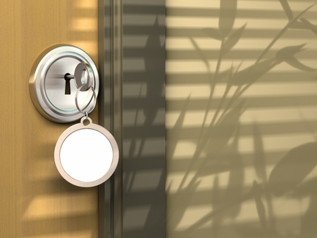 key in door: entry of an house, hotel, office or appartement with a lock and a keyring with empty space for a message Stock Photo