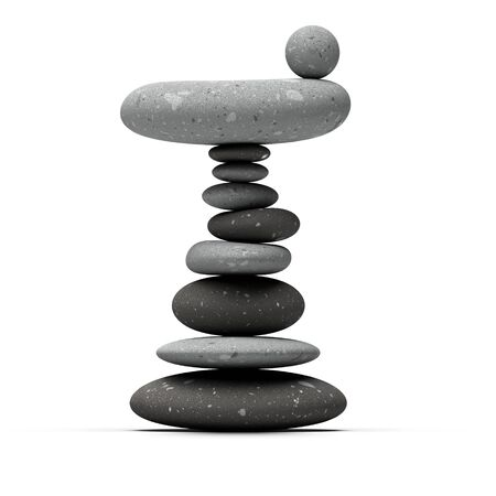 assemblage: balancing pebbles over white background whith a stone sphere a the top of the pile Stock Photo