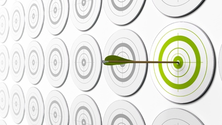 sorting: green arrow hitting the center of a green target there is grey targets around