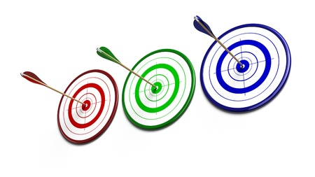 competitiveness: red, three green and blue targets over a white background each target reveive an arrow of the same color