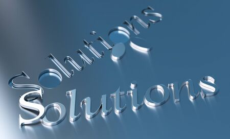 blue metallic background: solutions word over a blue metallic background Stock Photo