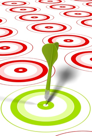 tenacity: green dart hitting the center of a red target, there is some red targets around