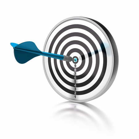 setting goals: blue dart pointing the center o a target, the target is isolated over white background