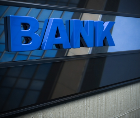 banking: 3D bank sign on a facade Stock Photo